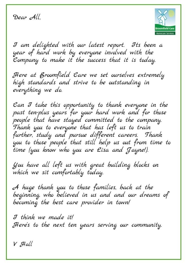 Letter from Vicky Hall