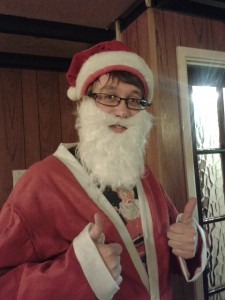 Mike dressed as Santa